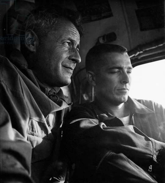Special Technical Advisor for Greenland to the US Air Force Transportation Corps, Paul-Emile Victor here departing from Thule, for a reconnaissance flight over Peary Land, Thule, Greenland, April 1952 (b/w photo)
