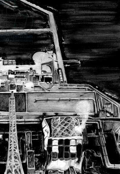 Nuclear power plant accident, 2014, (Acrylic paint on paper)