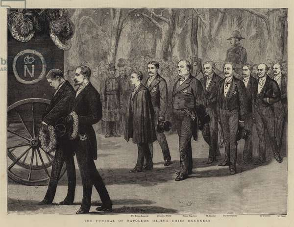 The Funeral of Napoleon III, the Chief Mourners (engraving)