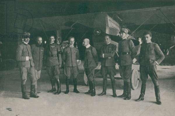 WWI 9 August 1918-The squadron 'Serenissima', The seven pilots and the commander, from right to left: Granzarolo, Allegri, Locatelli, Palli, D'Annunzio, Massoni, Finzi and Censi