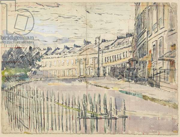 A view of Lansdown Crescent, Bath (pen & ink with w/c over graphite on paper)