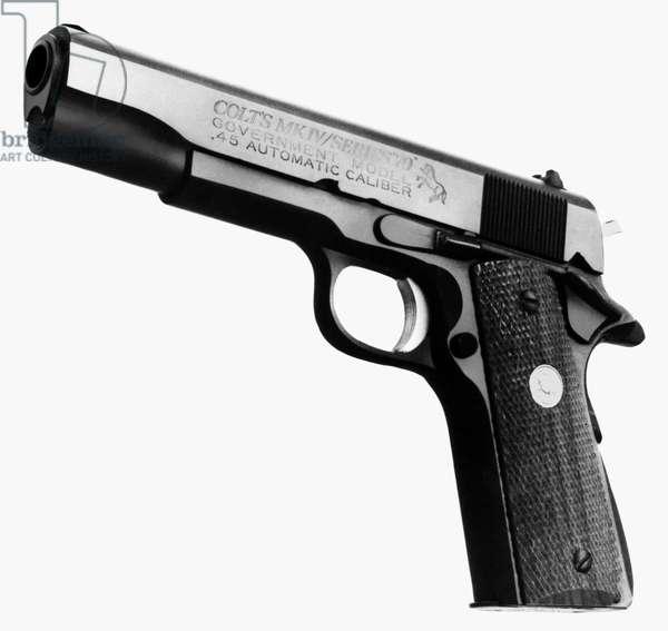 COLT .45 PISTOL Colt automatic pistol, .45 caliber, MK/Series '70. Photograph, mid 20th century.