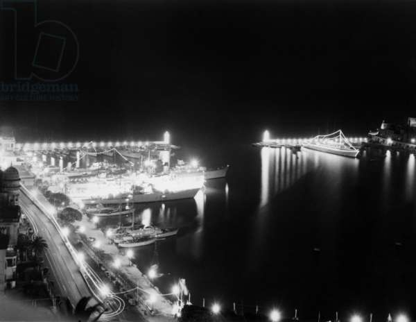 Monaco Harbour during The Night, February 6, 1959 (b/w photo)