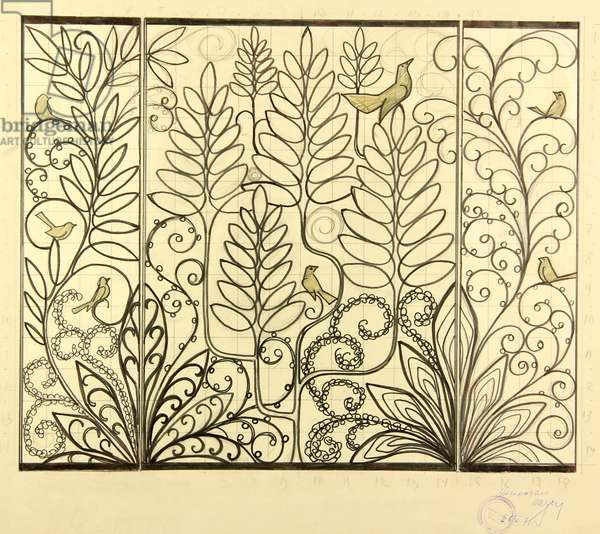 Design sketch for decoration on wrought iron gates, 1976 (gouache on paper)