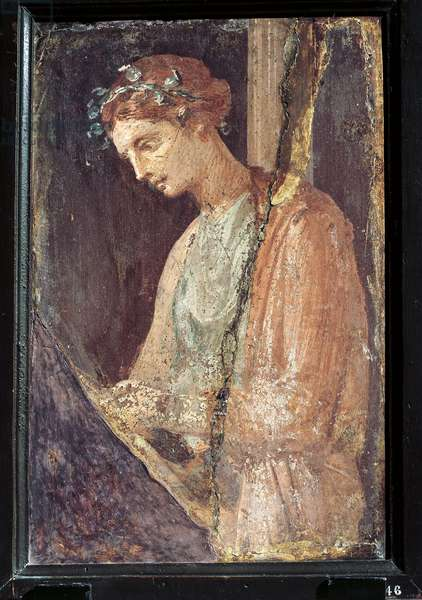 Profile portrait of a young woman from Italy, Campania, Pompeii, painting on plaster, 55-79 A.D.