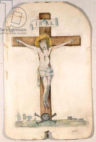 Crucifixion, c.1868 (pencil, crayon & w/c on paper)