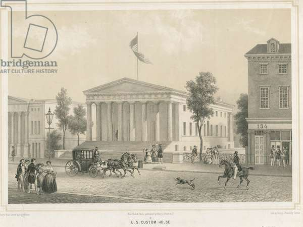 U.S. Custom House (formerly U.S. Bank), printed by F.L. Cattier, 1848 (tinted litho)
