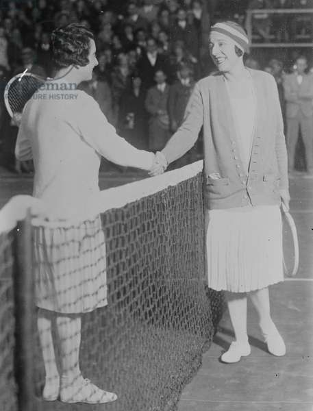 Tennis Players Mary Browne and Suzanne Lenglen, 1926 (b/w photo)