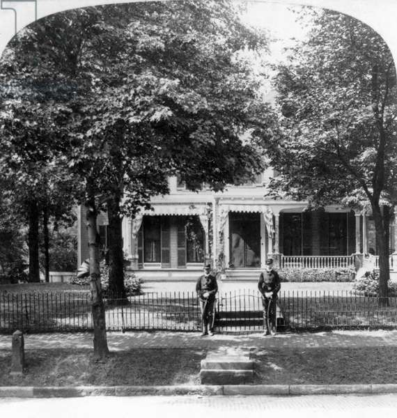 Home of William McKinley with 2 Guards at Gate, Canton, Ohio, USA, Single Image of Stereo Card, 1901 (b/w photo)