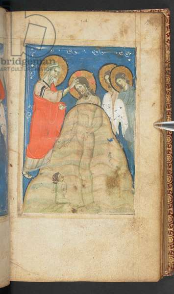 Harley 2928, f.16r, Baptism of Christ, Scene from the Gospel of St. John (vellum)