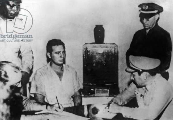 Fidel Castro during his interrogation after the attack of the Moncada barracks in Santiago de Cuba, 26th July 1953 (b/w photo)