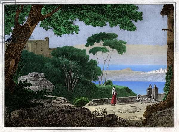 Lake Albano, Italy. circa 1820 (Engraving)