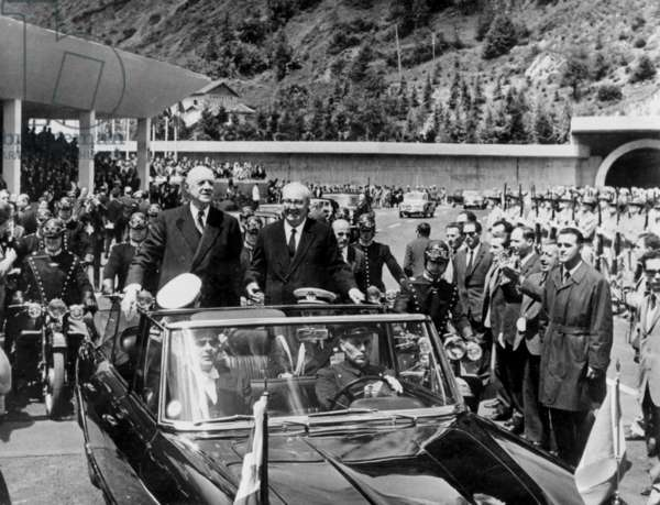 French President Charles De Gaulle and Italian President Giuseppe Saragat at Opening of Mont Blanc Tunnel Linking France and Italy July 19, 1965 (b/w photo)