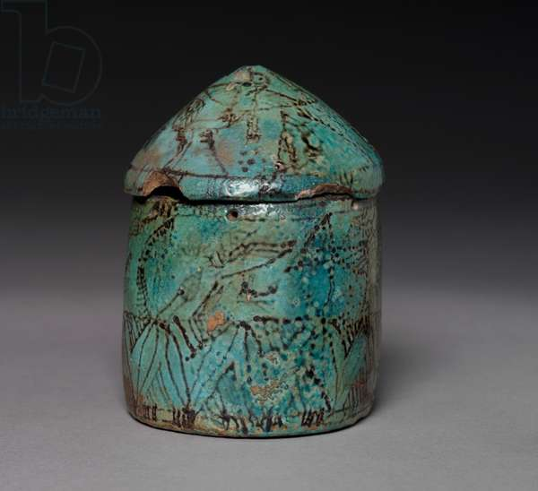 Pyxis with Lid, late Middle Kingdom to Early New Kingdom, c.1901-1525 BC (turquoise faience with black decoration)