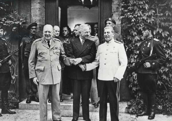 Joseph Stalin, Harry Truman, and Winston Churchill at the Potsdam Conference. While there, Churchill's Conservative Party lost to Labour, and Clement Attlee became Britain's representative at the Conference. July 1945.