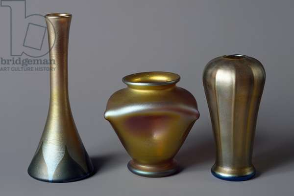 Favrile glass vases, by Louis Comfort Tiffany, United States of America, 20th century