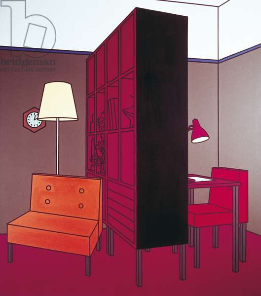 Interior with Room Divider, by Patrick Caulfield, 1971, 20th Century, acrylic on canvas
