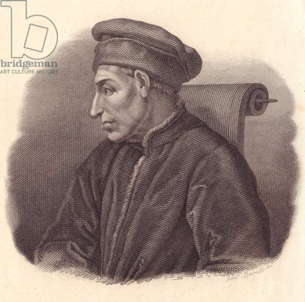Portrait of Cosimo di Giovanni de' Medici, also known as Elder or Pater patriae (1389-1464), copper engraving by G Bassatti from painting by Pontormo
