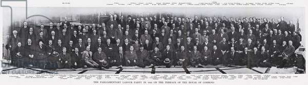 The Parliamentary Labour Party in 1924 on the Terrace of the House of Commons (b/w photo)