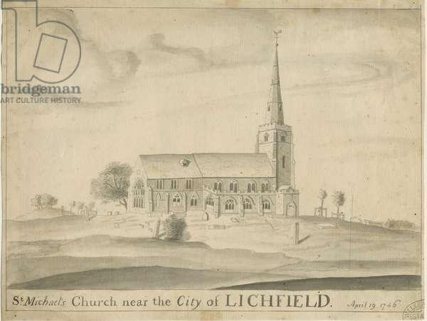 Lichfield - St. Michael's Church: sepia drawing, 19 Apr 1746 (drawing)