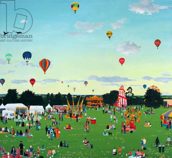 Balloons and Fairground, 2014 (oil on linen)