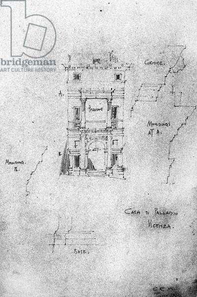 Casa di Palladio, Vicenza, 1891 (pencil on paper)