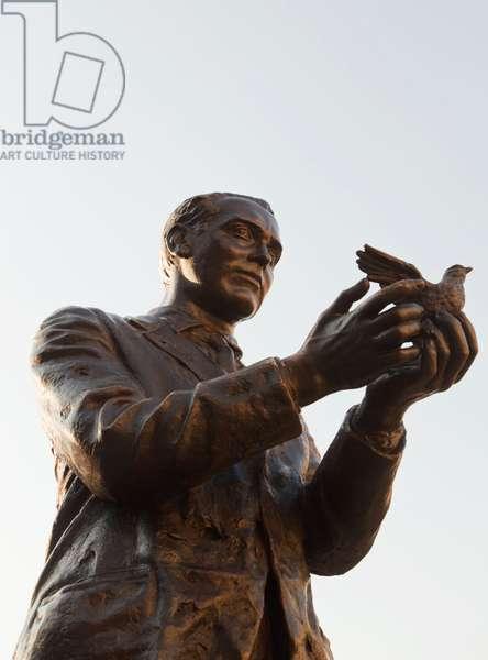 Madrid, Spain.  Statue of Federico Garcia Lorca in the Plaza Santa Ana, by sculptor Julio López Hernández. (photo)