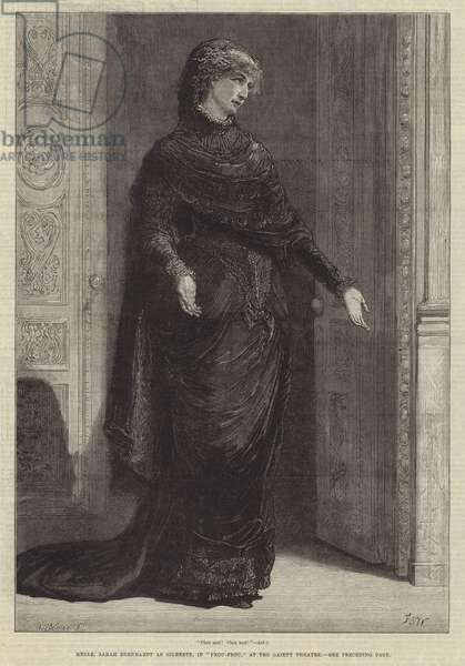 """Mademoiselle Sarah Bernhardt as Gilberte, in """"Frou-Frou,"""" at the Gaiety Theatre (engraving)"""