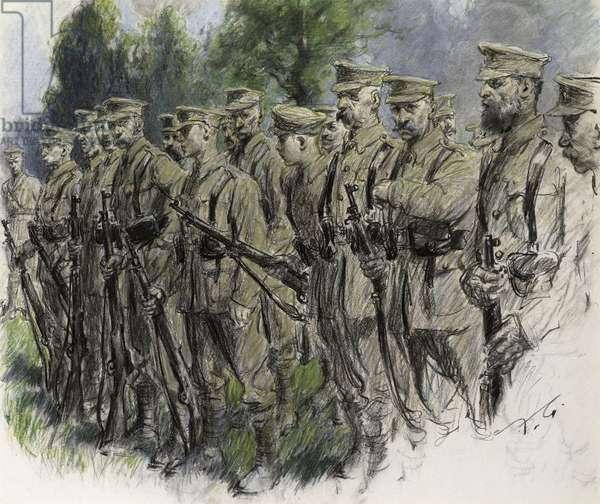 """""""Fall In"""" –Norfolk Volunteers, c.1916 (pastel on paper)"""