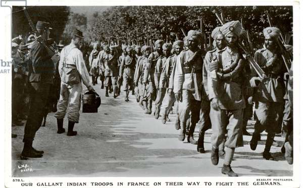 Our gallant Indian troops in France on their way to fight the Germans, 1914-15 (b/w photo)