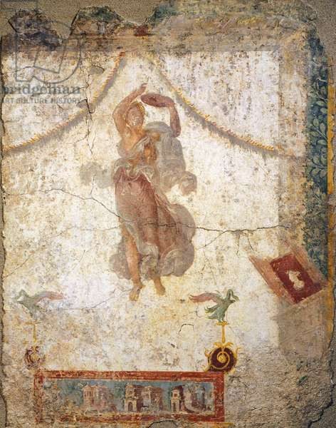 Painting in the Fourth Pompeian Style depicting a flying Maenad with a tambourine, 10x113 cm. Roman Civilization, 1st Century.