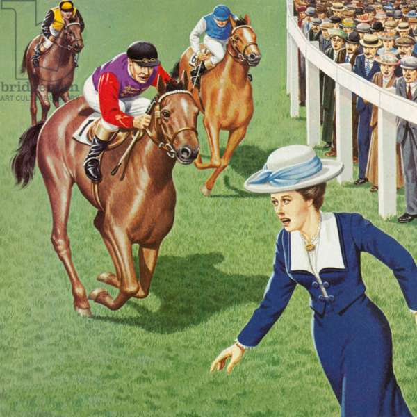 Death at the Derby (colour litho)