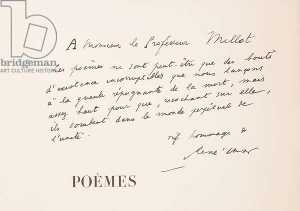 Page from 'Poemes', 1952 (pen & ink on paper) (see also 495243-6)