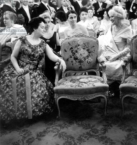 Gala Evening Honoring The Members of The Diplomatic Corps at The Palais De L' Elysee With Yvonne De Gaulle, Wife of The General De Gaulle and in The Background Mme Vinogradov and Lady Jelb February 25, 1959 (b/w photo)