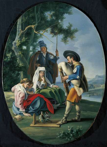 Little Concert. Entertainment in the Countryside (Concertino. Intrattenimento in campagna)), by Filippo Falciatore, 18th century (oil on canvas)
