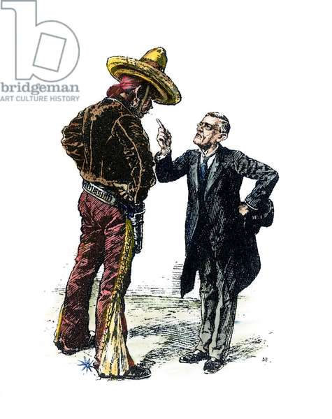 WILSON & MEXICO, 1913 U.S. President Woodrow Wilson scolds Mexico over its political unrest. English cartoon, 1913.