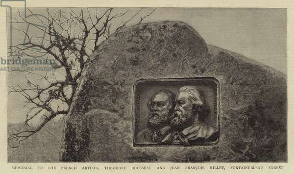 Memorial to the French Artists, Theodore Rousseau and Jean Francois Millet, Fontainebleau Forest (engraving)