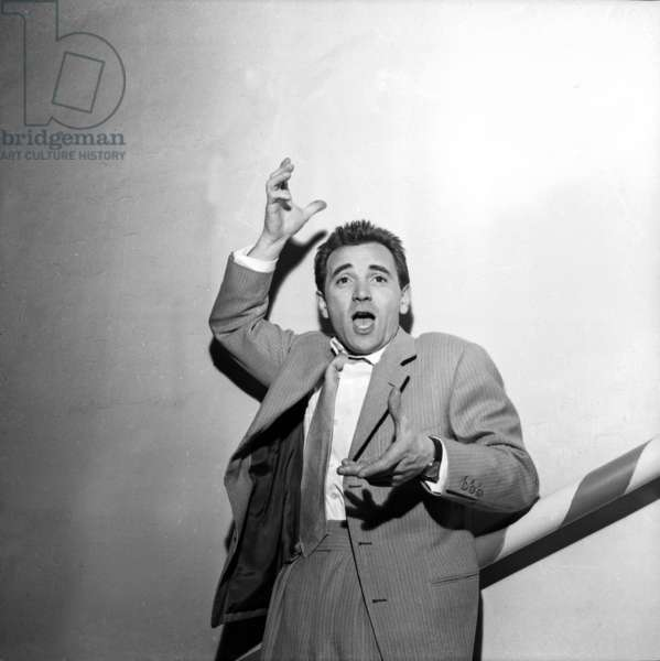 French Singer Charles Aznavour at Moulin Rouge in Paris, on May 1st 1955