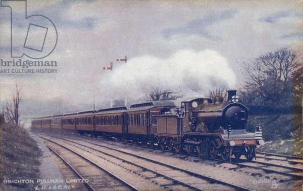 London Brighton and South Coast Railway Brighton Pullman train (colour litho)