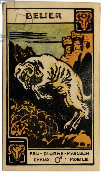 Paranormal. Astrology. Aries (the Ram). Astrologic card from: Le Tarot Astrologique (Astrological Tarot), by Georges Muchery, France, 1927