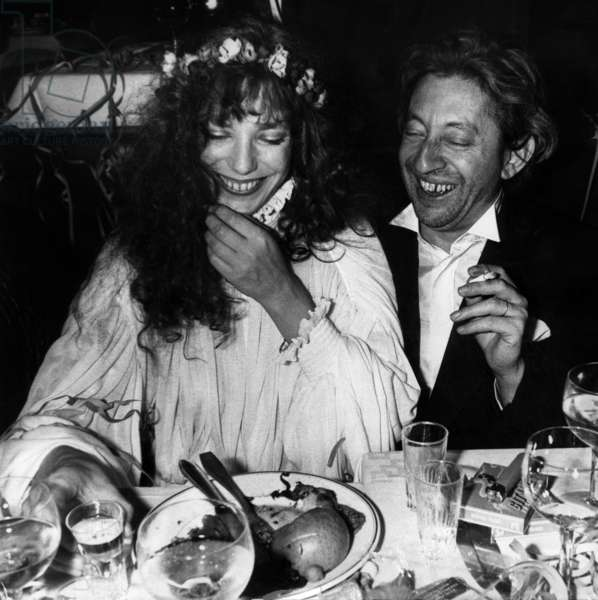Jane Birkin and Serge Gainsbourg during Russian New Year Eve in Cabaretrasputin January 16, 1978 (b/w photo)