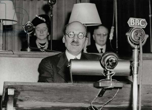 Clement Attlee at the United Nations Educational and Cultural Conference in London, 1st November 1945 (b/w photo)