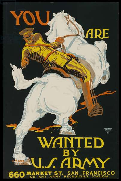 You are Wanted by U. S. Army-660 Market St. San Francisco - Or Any Army Recruiting Station, c.1917-18 (colour litho)