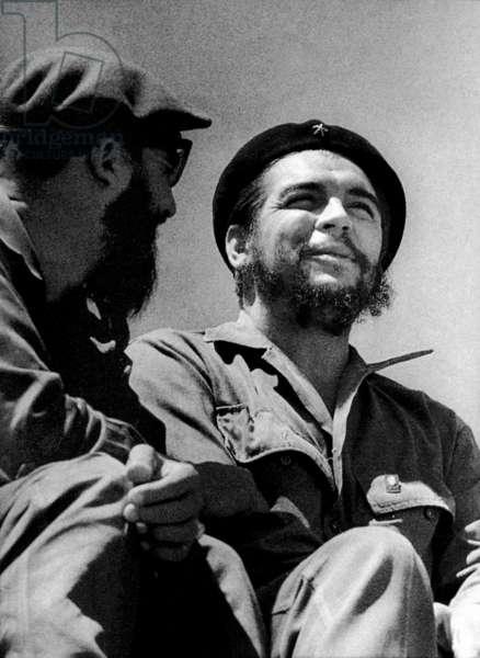 Ernesto Che Guevara, cuban revolutionary leader, on May 1st, 1963 in Havana with Fidel Castro