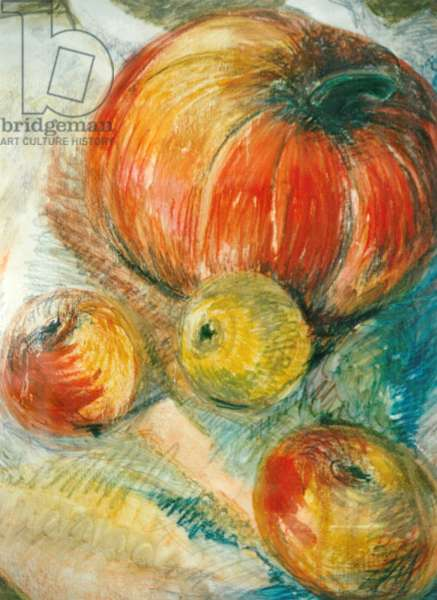 Pumpkin with Apples, (oil and pastels)