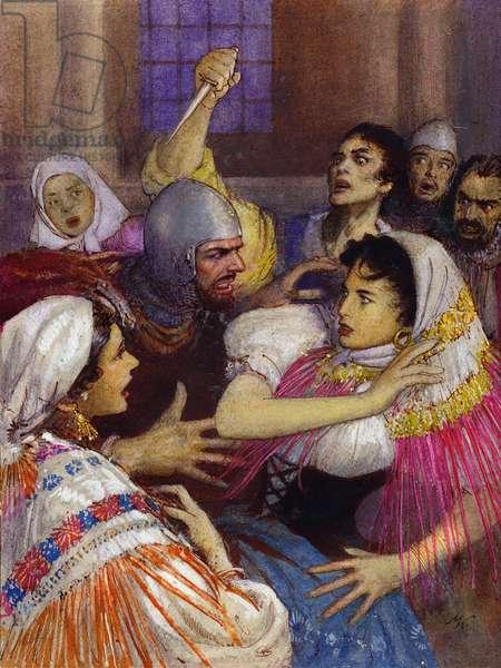 Massacre of the Sicilian Vespers (gouache on paper)