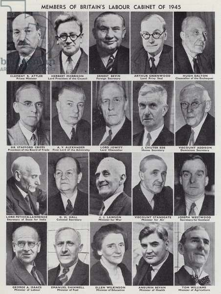 Members of the cabinet of Britain's Labour government elected in the 1945 General Election (b/w photo)