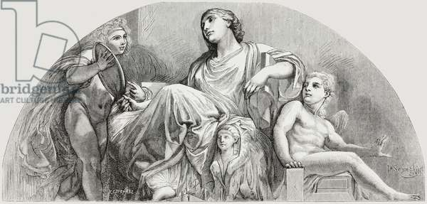 Wisdom, lunette by Andrea Appiani (1754-1817), in throne room of Royal Palace, Milan, drawing by D Semeghini, engraving from L'Illustrazione Italiana, Year 5, No 16, April 21, 1878