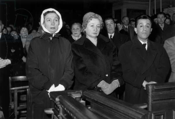Arletty, Elvire Popesco and Fernandel, Funeral of Mistinguett, Paris, 9 January, 1956 (b/w photo)
