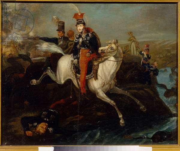 The Death of Prince Josef Poniatowski, at the Battle of Leipzig, 16th October 1813 (oil on canvas)